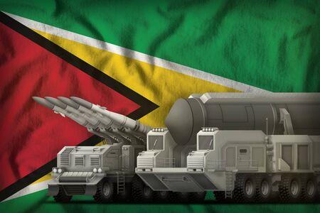 rocket forces on the Guyana flag background. Guyana rocket forces concept. 3d Illustration