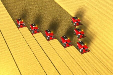 Many red grain combine harvesters work on the big yellow field - view from above in aerial shooting style, industrial 3D illustration