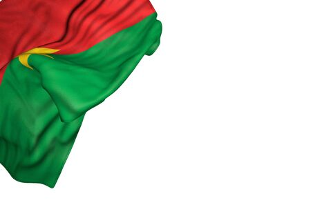 cute national holiday flag 3d illustration  - Burkina Faso flag with big folds lying flat in top left corner isolated on white