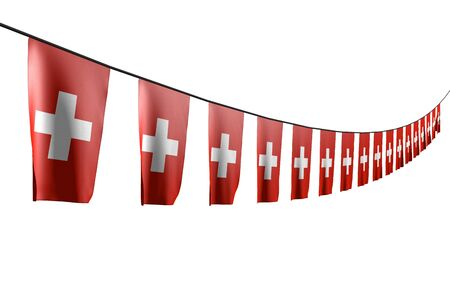 nice many Switzerland flags or banners hanging diagonal with perspective view on string isolated on white - any holiday flag 3d illustration