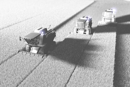 White render in air photography style of huge rural harvesters on field for using as background or mockup, industrial 3D illustration