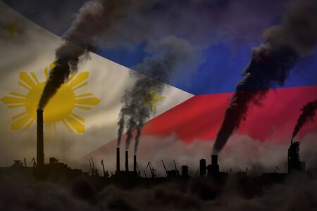 heavy smoke of industrial pipes on Philippines flag - global warming concept, background with place for your text - industrial 3D illustration