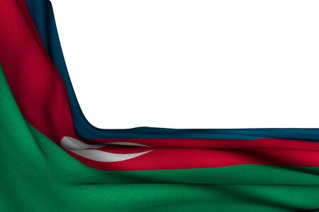 cute isolated mockup of Azerbaijan flag hangs in corner on white with empty place for text - any holiday flag 3d illustration