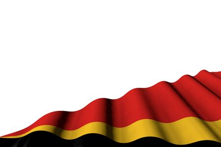 cute any holiday flag 3d illustration  - shiny flag of Timor-Leste with big folds lay in right bottom corner isolated on white