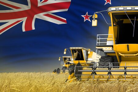 industrial 3D illustration of 3 yellow modern combine harvesters with New Zealand flag on rye field - close view, farming concept