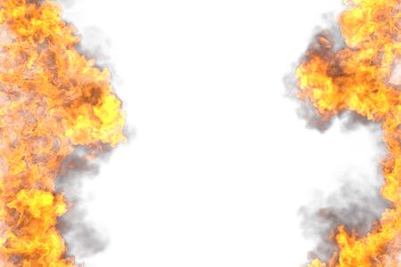 mystical fire frame isolated on white background - fire lines from sides left and right, top and bottom are empty - fire 3D illustration Imagens