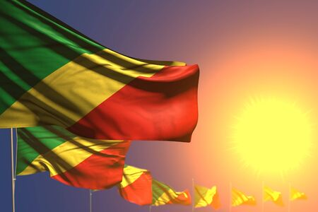 pretty many Congo flags on sunset placed diagonal with bokeh and space for text - any celebration flag 3d illustration