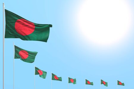 cute any holiday flag 3d illustration  - many Bangladesh flags placed diagonal on blue sky with space for your text