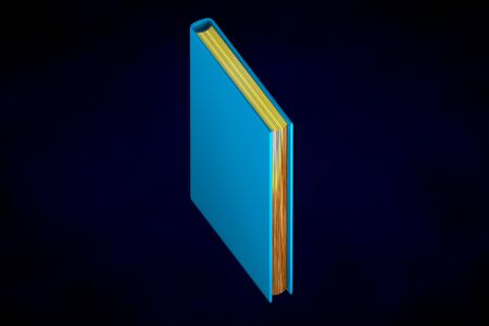 object 3d illustration - high detail blue closed book with gold pages, knowledge concept isolated on black background