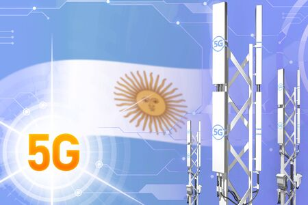 Argentina 5G network industrial illustration, large cellular tower or mast on hi-tech background with the flag - 3D Illustration