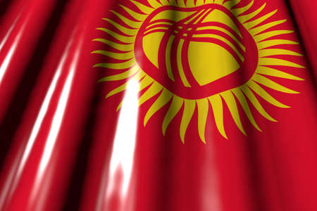 beautiful any celebration flag 3d illustration  - glossy - looks like plastic flag of Kyrgyzstan with big folds lay in corner 版權商用圖片