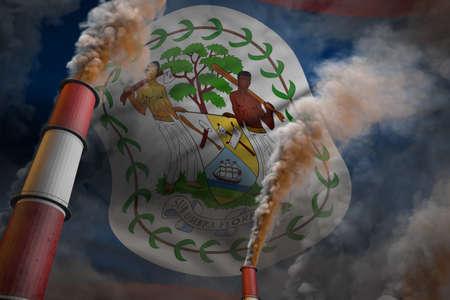 Pollution fight in Belize concept - industrial 3D illustration of two large plant chimneys with dense smoke on flag background Reklamní fotografie