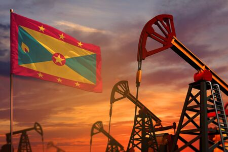 Grenada oil industry concept, industrial illustration. Grenada flag and oil wells and the red and blue sunset or sunrise sky background - 3D illustration