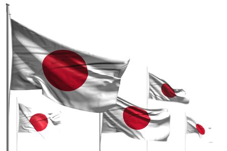 wonderful day of flag 3d illustration  - five flags of Japan are wave isolated on white - photo with bokeh