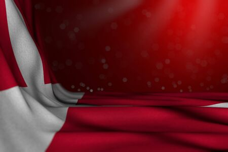 cute dark photo of Denmark flag lying in corner on red background with soft focus and free space for your content - any occasion flag 3d illustration