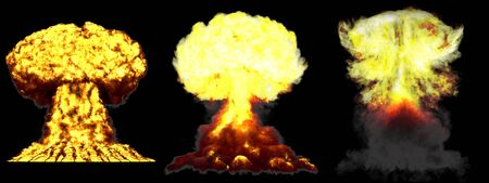 3 large very high detailed different phases mushroom cloud explosion of atom bomb with smoke and fire isolated on black - 3D illustration of explosion