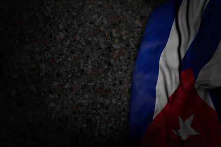 wonderful dark illustration of Cuba flag with large folds on dark asphalt with free space for text - any holiday flag 3d illustration