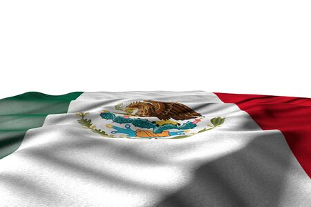 pretty mockup photo of Mexico flag lie with perspective view isolated on white with space for content - any celebration flag 3d illustration  Фото со стока