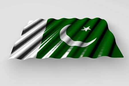 nice holiday flag 3d illustration  - shiny flag of Pakistan with big folds lying flat isolated on grey
