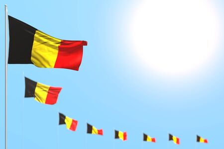 nice many Belgium flags placed diagonal with soft focus and free space for content - any celebration flag 3d illustration  Banco de Imagens