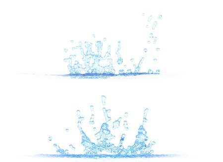 2 side views of beautiful water splash - 3D illustration, mockup isolated on white - creative still