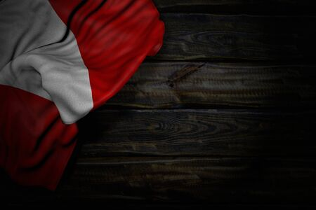 pretty any feast flag 3d illustration  - dark image of Peru flag with big folds on old wood with free space for content 版權商用圖片