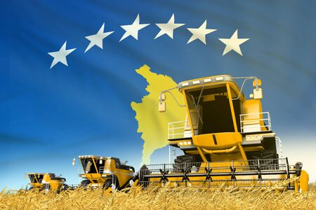 industrial 3D illustration of yellow grain agricultural combine harvester on field with Kosovo flag background, food industry concept Banque d'images - 130006552
