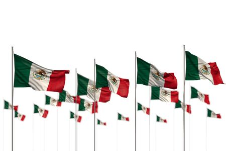 wonderful Mexico isolated flags placed in row with soft focus and place for your content - any holiday flag 3d illustration