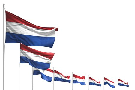 wonderful memorial day flag 3d illustration  - many Netherlands flags placed diagonal isolated on white with space for text