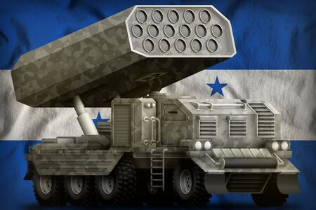 rocket artillery, missile launcher with grey camouflage on the Honduras flag background. 3d Illustration