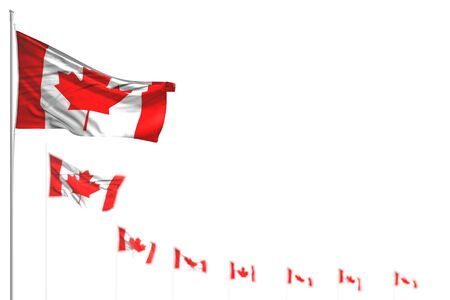beautiful any holiday flag 3d illustration  - Canada isolated flags placed diagonal, illustration with bokeh and space for content Reklamní fotografie