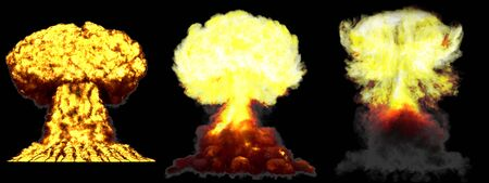 3 huge highly detailed different phases mushroom cloud explosion of thermonuclear bomb with smoke and fire isolated on black - 3D illustration of explosion