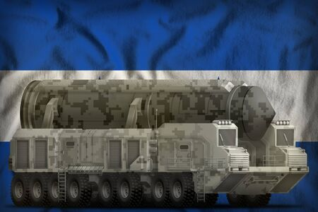 intercontinental ballistic missile with city camouflage on the Honduras flag background. 3d Illustration