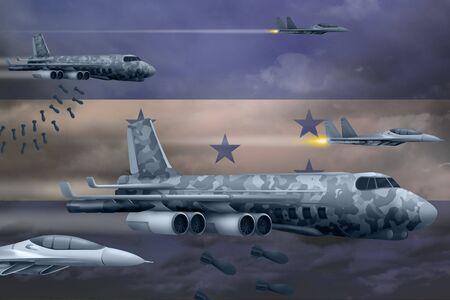 Honduras bomb air strike concept. Modern Honduras war airplanes bombing on flag background. 3d Illustration Stockfoto - 130007305