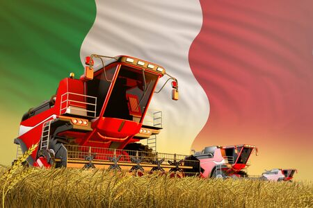 agricultural combine harvester working on grain field with Italy flag background, food production concept - industrial 3D illustration