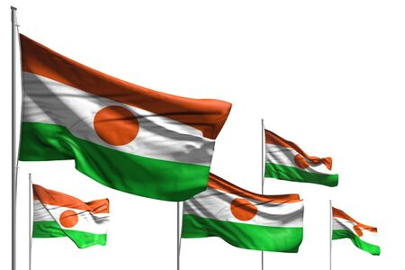 pretty day of flag 3d illustration  - five flags of Niger are wave isolated on white Banco de Imagens