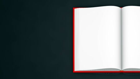 object 3d illustration - high resolution red book that is fully open, school concept isolated on black background