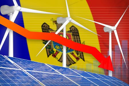 Moldova solar and wind energy lowering chart, arrow down  - green energy industrial illustration. 3D Illustration