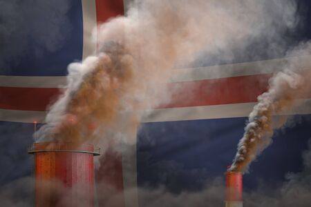 heavy smoke of factory chimneys on Iceland flag - global warming concept, background with space   - industrial 3D illustration Reklamní fotografie