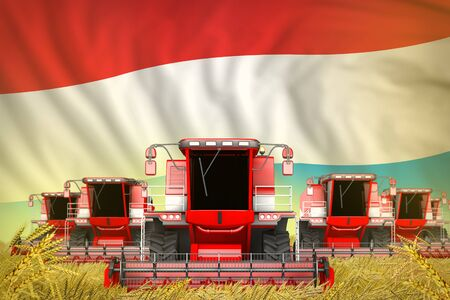 industrial 3D illustration of a lot of red farming combine harvesters on rye field with Luxembourg flag background - front view, stop starving concept