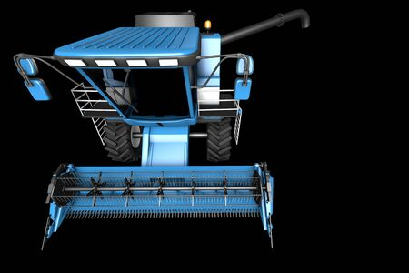 big modern blue rural agricultural combine harvester with grain pipe detached front top view isolated on black - industrial 3D illustration Archivio Fotografico - 130007444