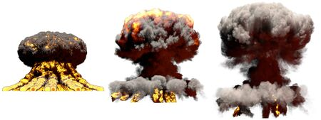 3 big different phases fire mushroom cloud explosion of hydrogen bomb with smoke and flames isolated on white - 3D illustration of explosion 版權商用圖片