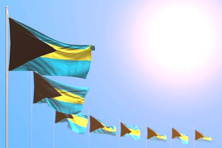 beautiful many Bahamas flags placed diagonal with selective focus and free place for your content - any holiday flag 3d illustration