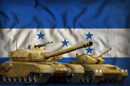 tanks with orange camouflage on the Honduras flag background. Honduras tank forces concept. 3d Illustration