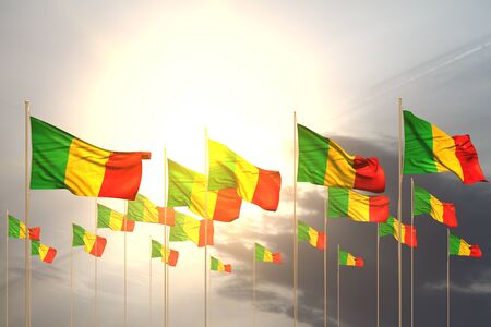 nice any feast flag 3d illustration  - many Mali flags in a row on sunset with empty space for your text