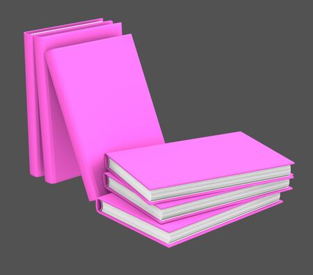object 3d illustration - high detail stack of purple books closed, college concept isolated on grey background