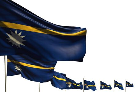 nice any celebration flag 3d illustration  - many Nauru flags placed diagonal isolated on white with space for text