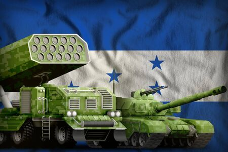 tank and rocket artillery with summer pixel camouflage on the Honduras flag background. Honduras heavy military armored vehicles concept. 3d Illustration