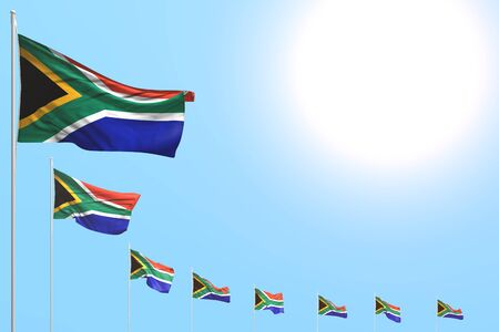 wonderful any feast flag 3d illustration  - many South Africa flags placed diagonal on blue sky with space for content