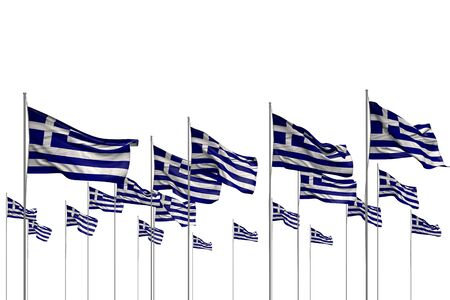 cute day of flag 3d illustration  - many Greece flags in a row isolated on white with free place for your content Banco de Imagens